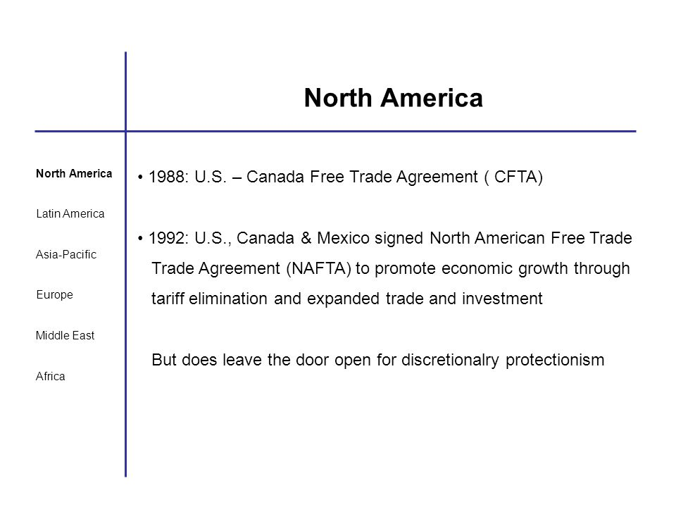 North America 1988: U.S. – Canada Free Trade Agreement ( CFTA)