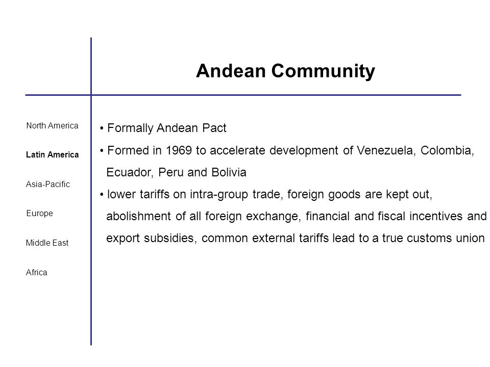 Andean Community Formally Andean Pact