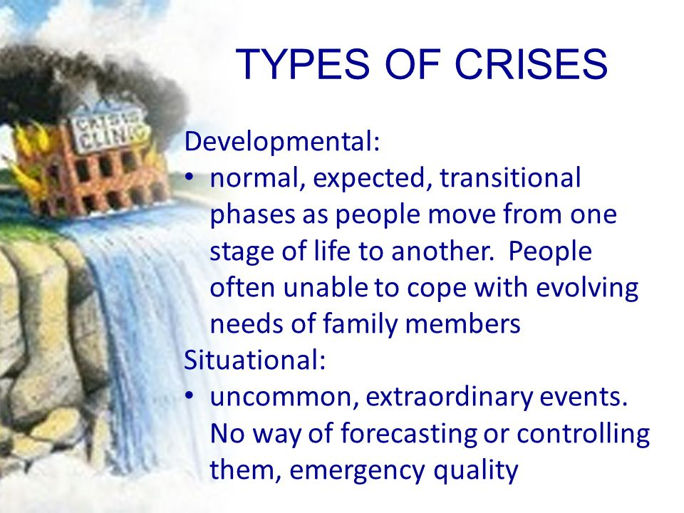 TYPES OF CRISES Developmental: