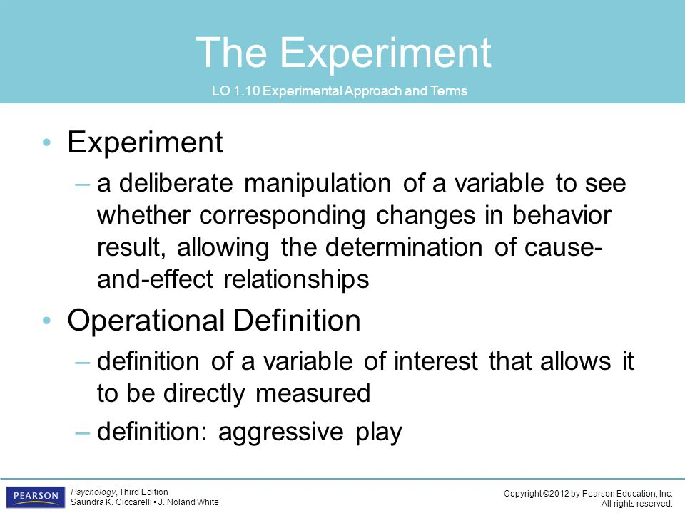 LO 1.10 Experimental Approach and Terms