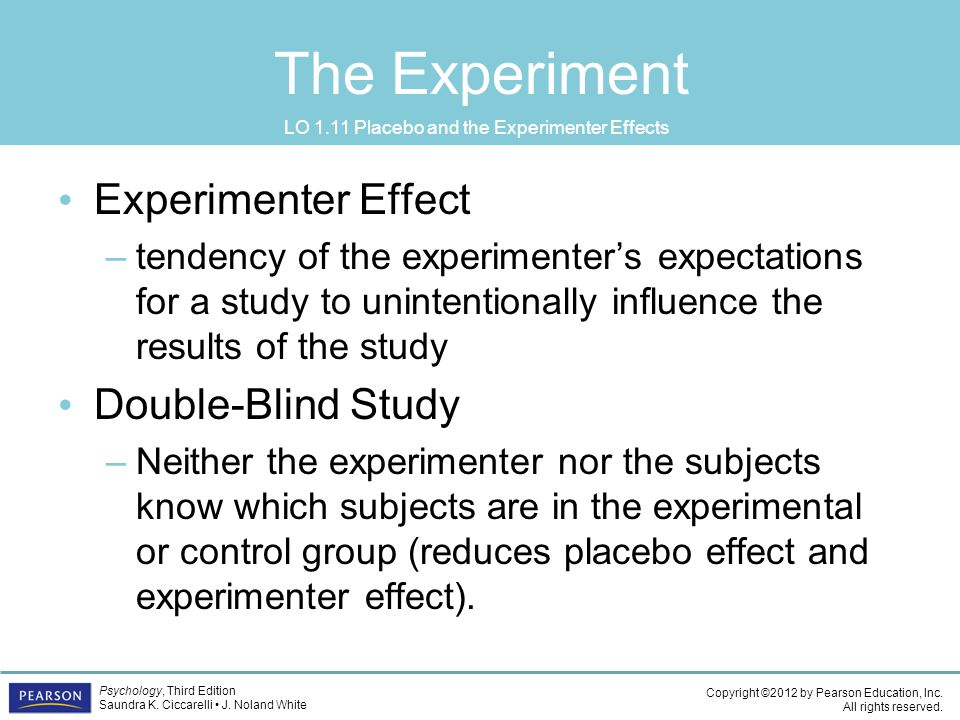 LO 1.11 Placebo and the Experimenter Effects