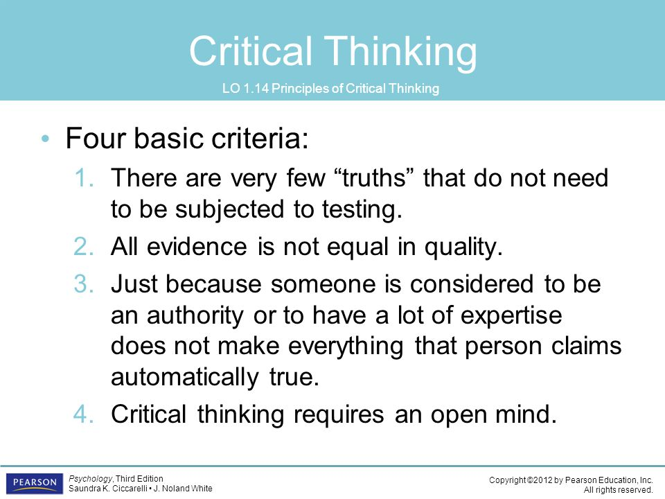 LO 1.14 Principles of Critical Thinking