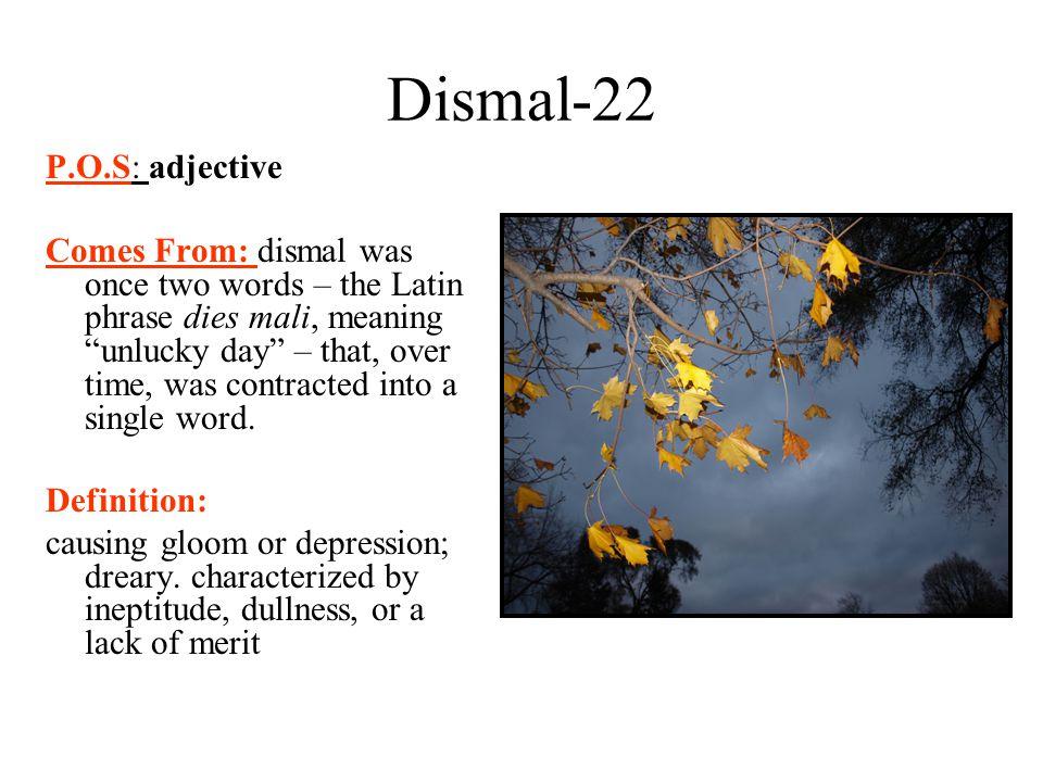 Dismal-22 P.O.S: adjective