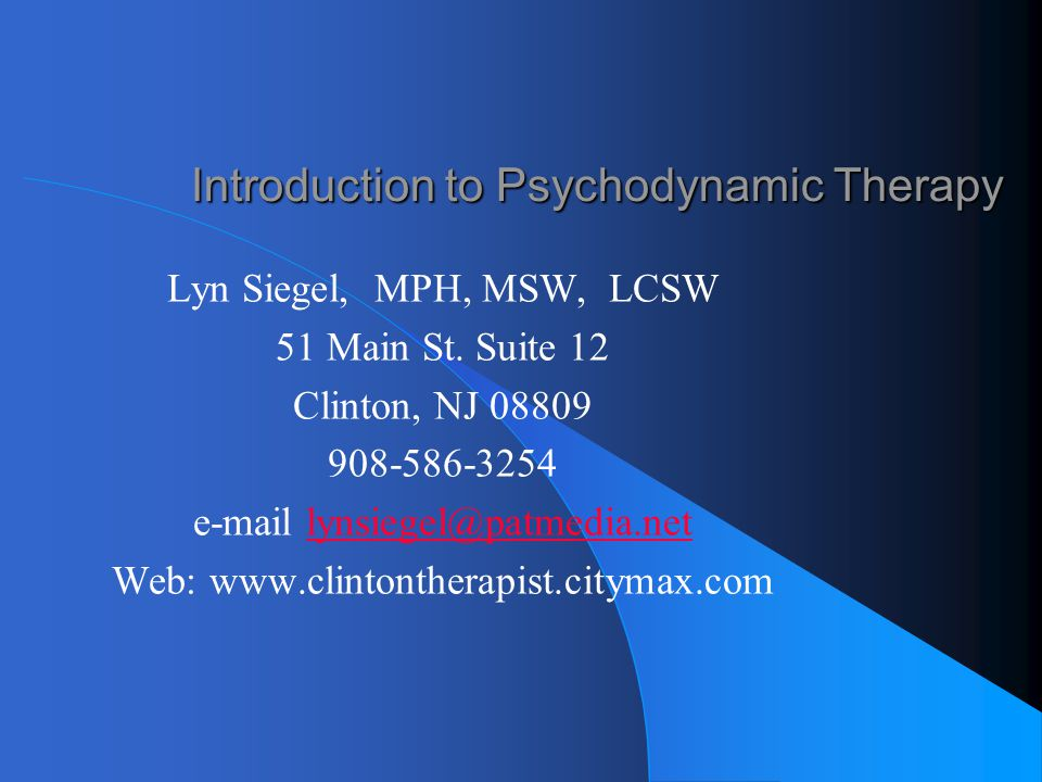 Introduction to Psychodynamic Therapy