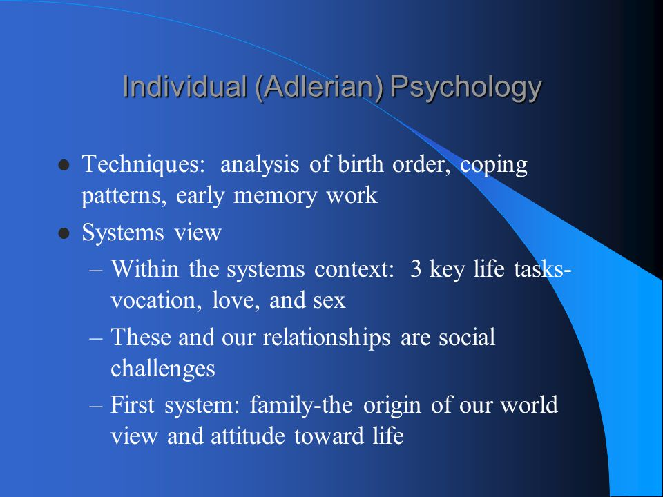 Individual (Adlerian) Psychology
