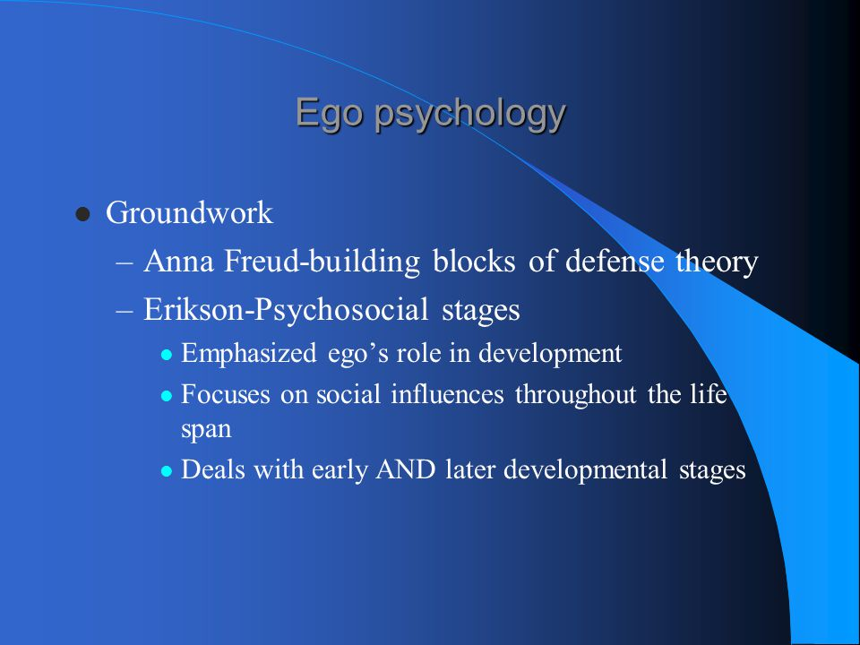 Ego psychology Groundwork Anna Freud-building blocks of defense theory