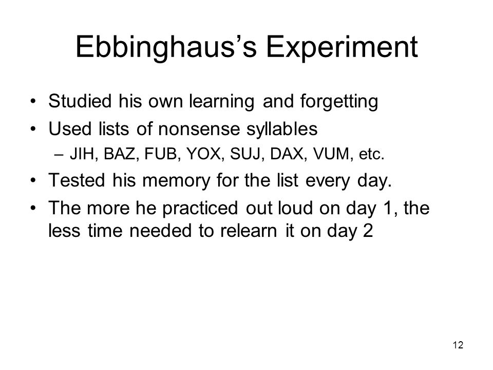 Ebbinghaus's Experiment