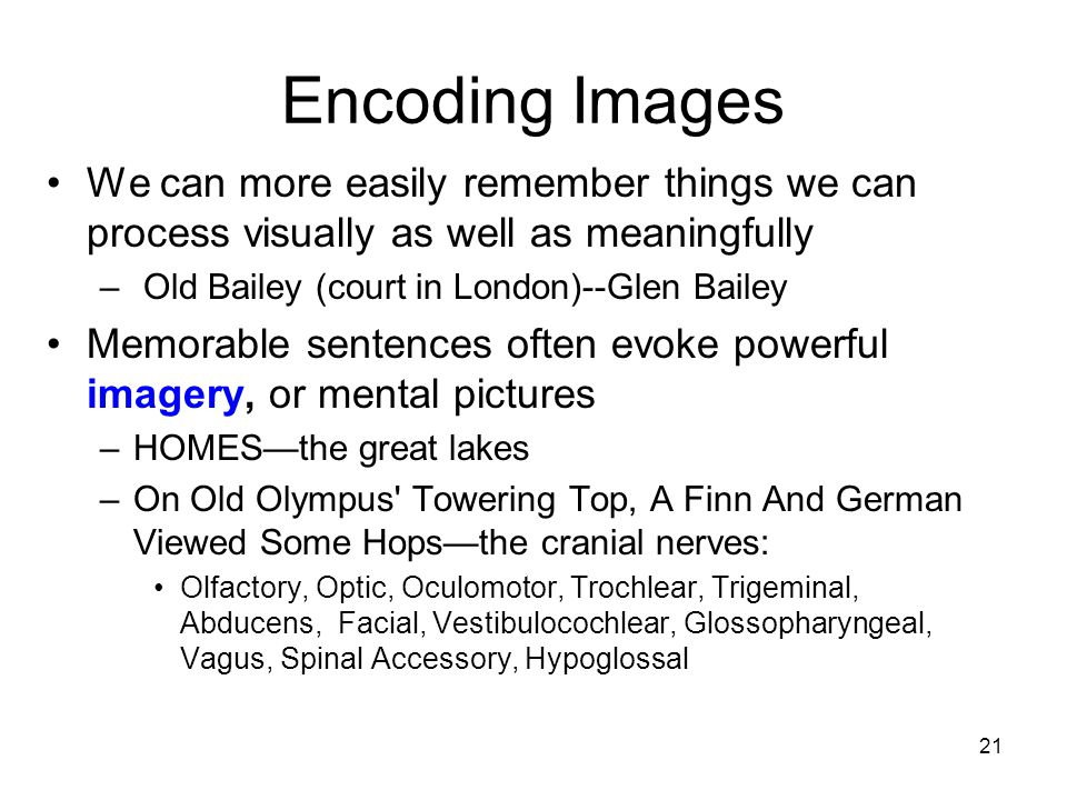 Encoding Images We can more easily remember things we can process visually as well as meaningfully.
