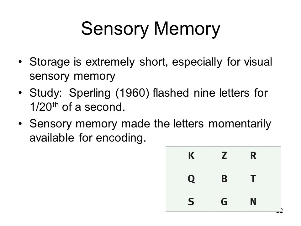 Sensory Memory Storage is extremely short, especially for visual sensory memory.