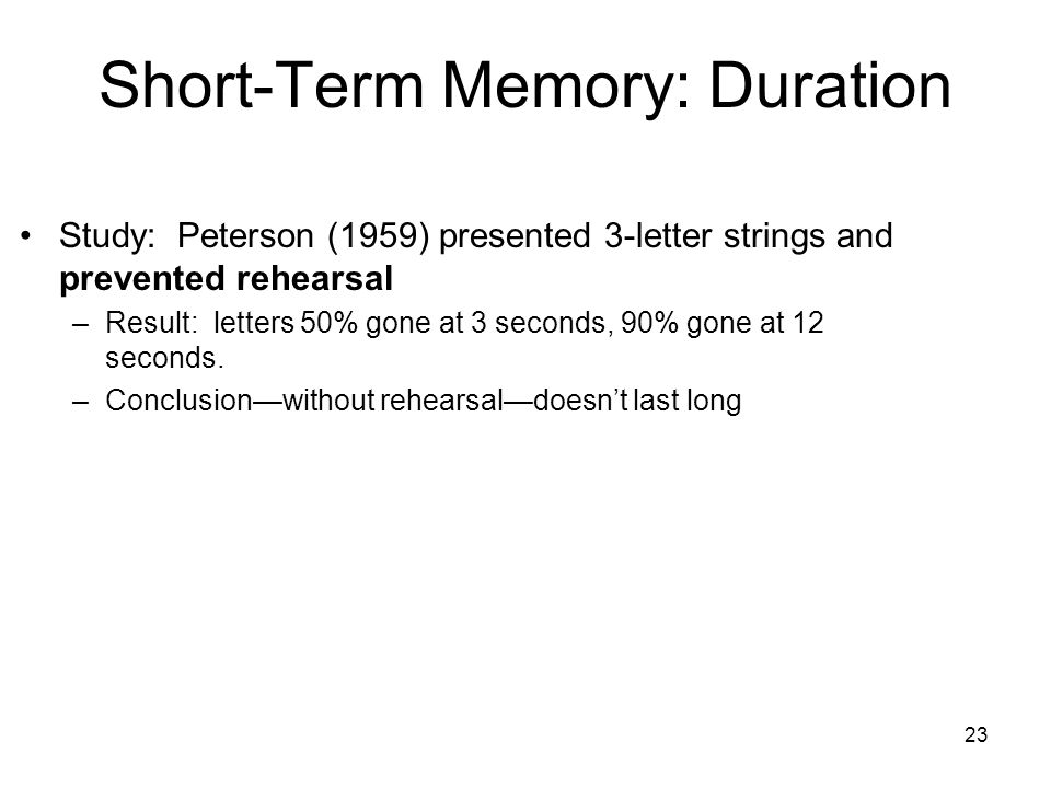 Short-Term Memory: Duration
