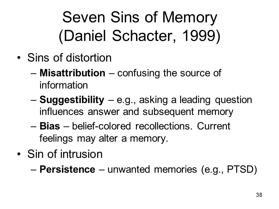 the seven sins of memory In this well-written book, daniel schacter, chairman of harvard's psychology department, provides the non-specialist reader with a guided tour of the latest research on memory he offers a fascinating glimpse into how human memory works and how it sometimes fails us the seven sins of memory is.