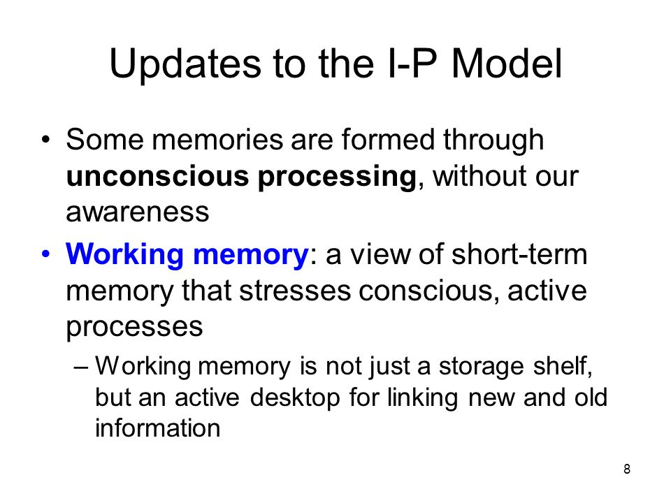 Updates to the I-P Model