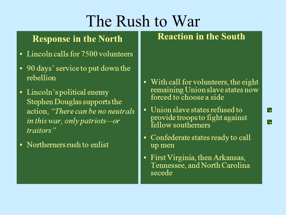 The Rush to War Response in the North Reaction in the South