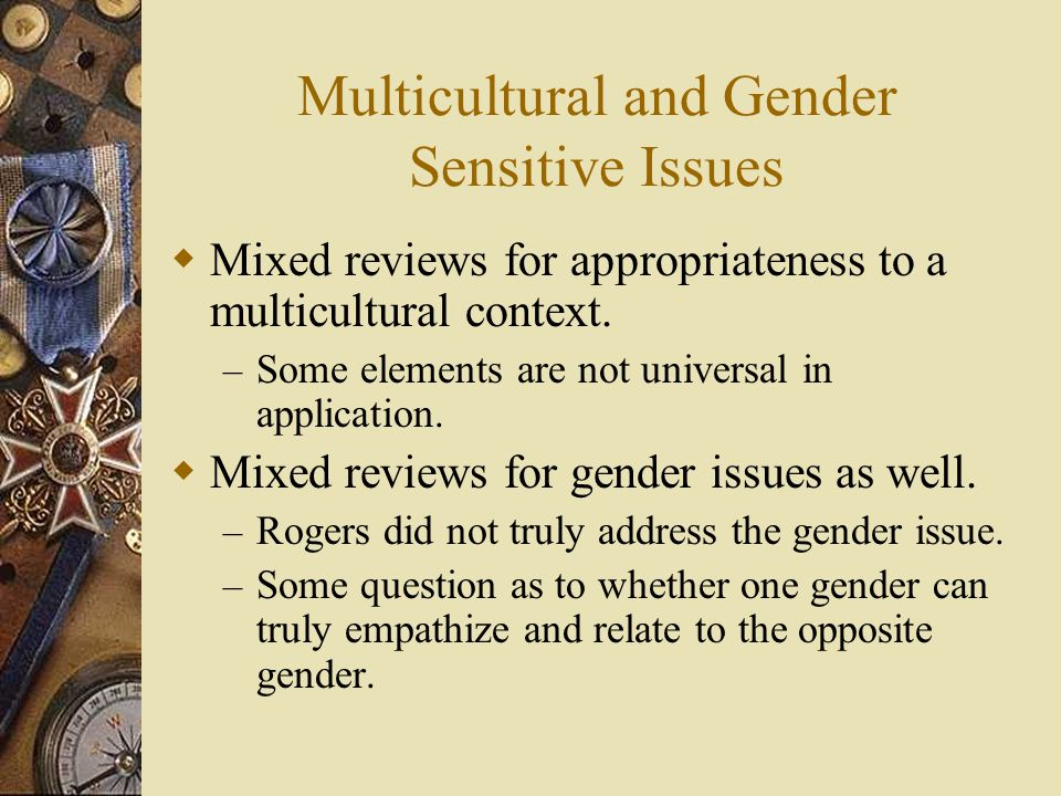 Multicultural and Gender Sensitive Issues