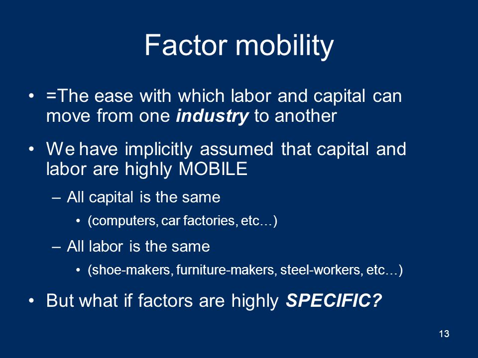 Factor mobility =The ease with which labor and capital can move from one industry to another.