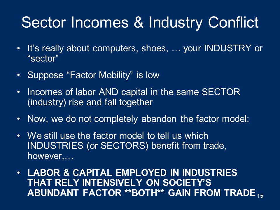 Sector Incomes & Industry Conflict