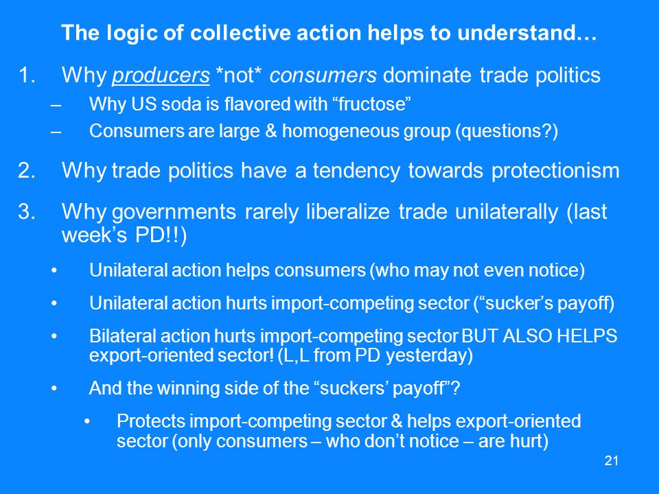 The logic of collective action helps to understand…