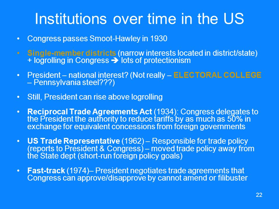 Institutions over time in the US