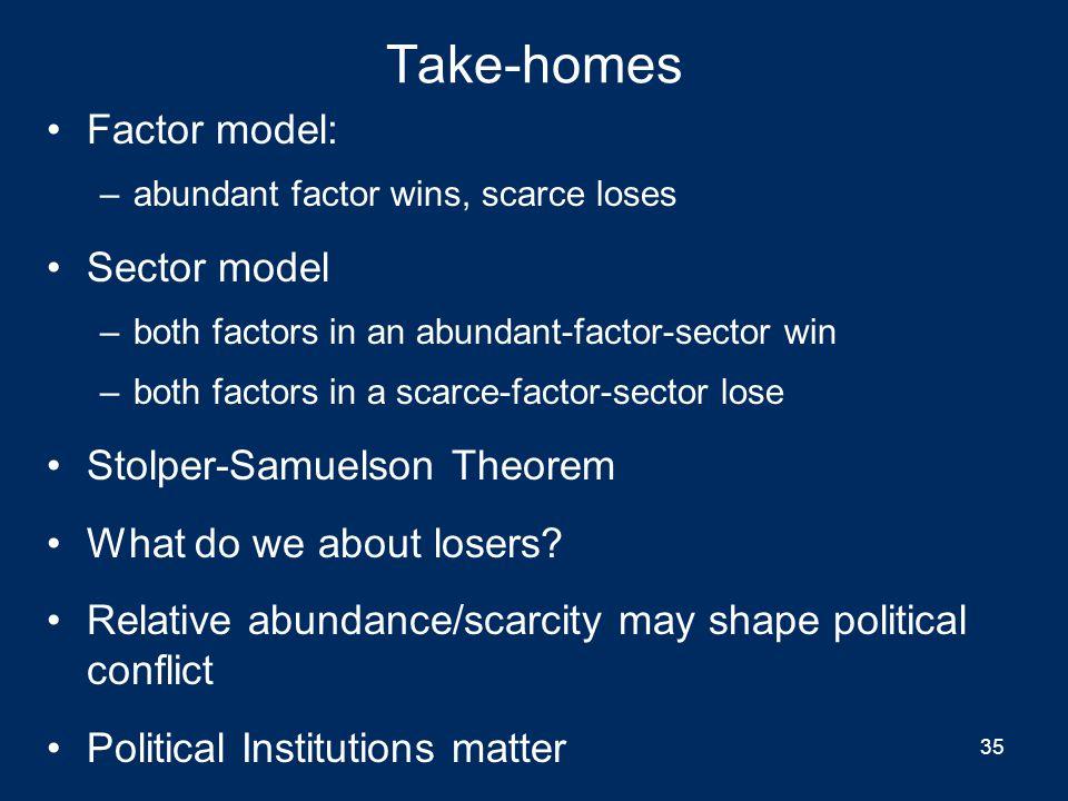 Take-homes Factor model: Sector model Stolper-Samuelson Theorem