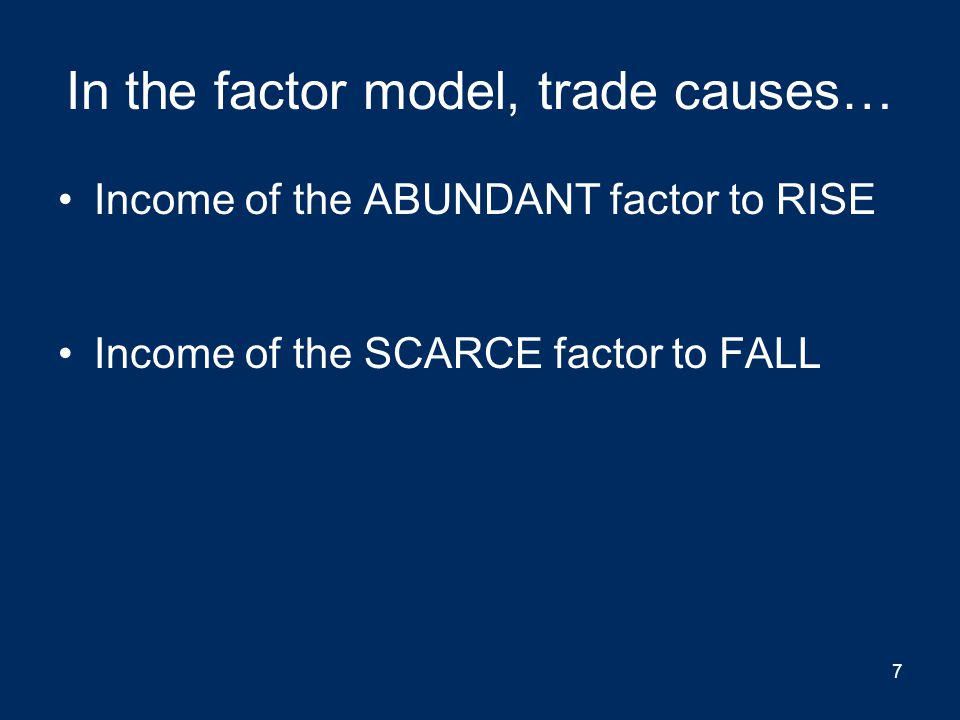 In the factor model, trade causes…