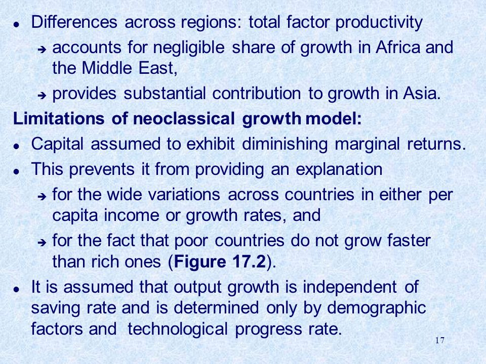 Differences across regions: total factor productivity