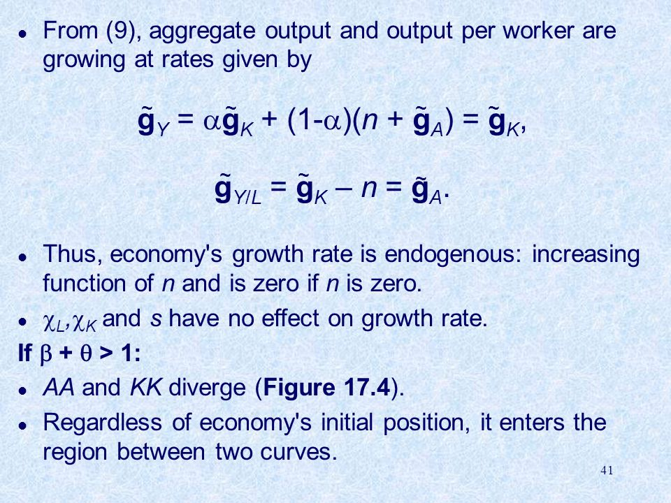 gY = gK + (1-)(n + gA) = gK,