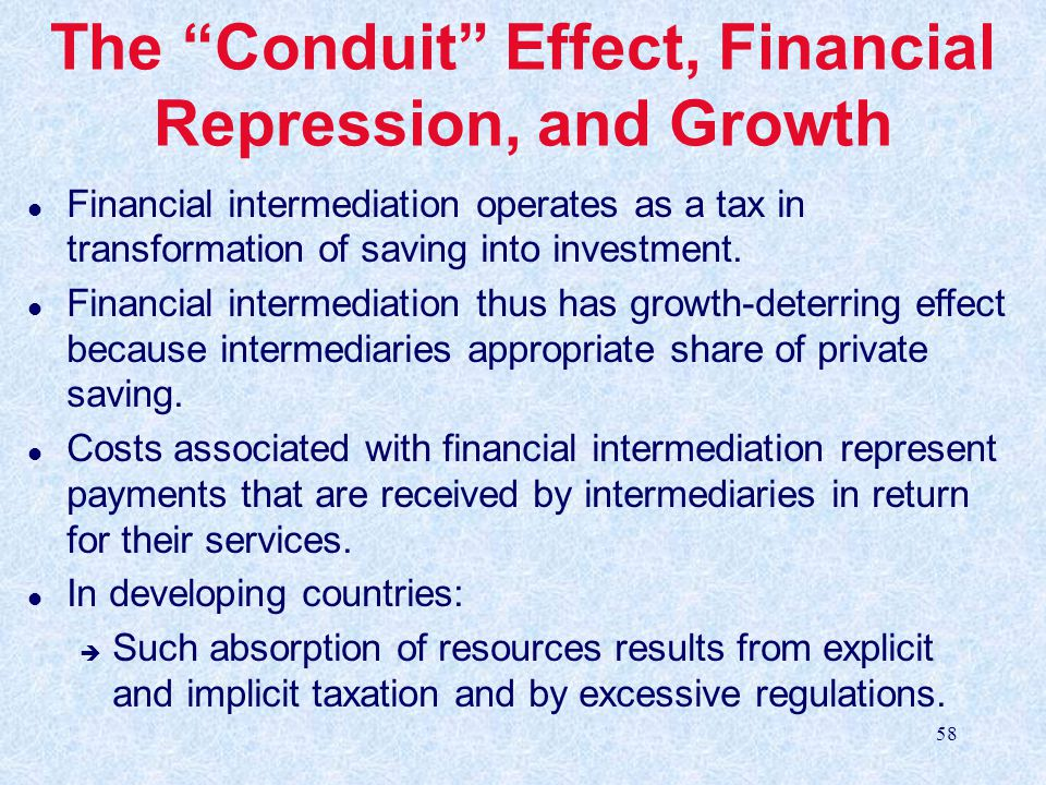 The Conduit Effect, Financial Repression, and Growth