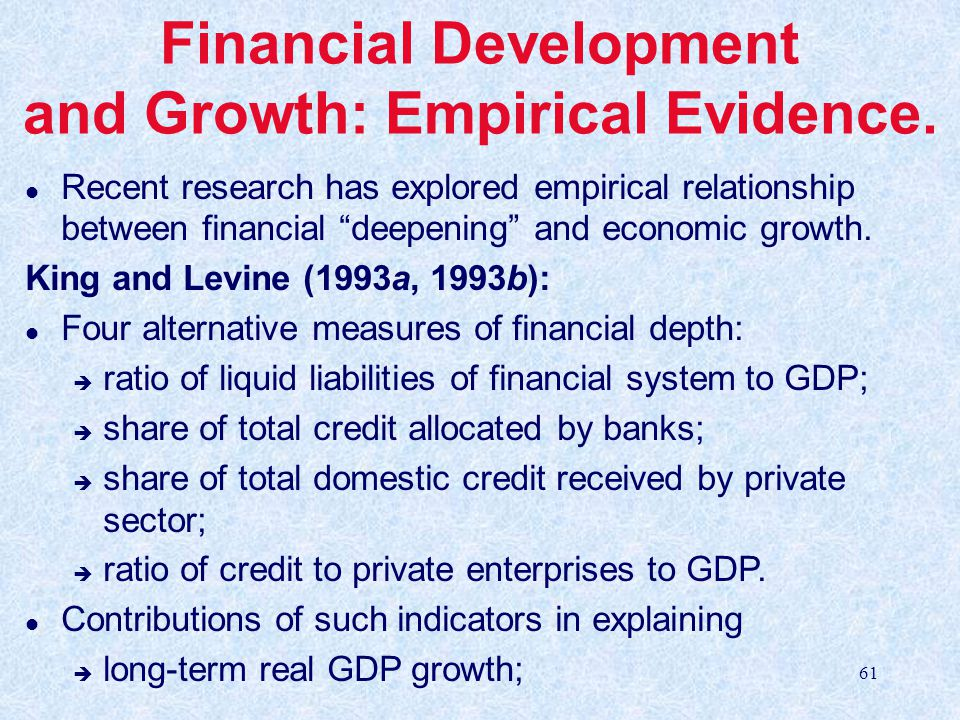 relationship between financial development and economic This paper aims to investigate the long-run relationship between financial  development and economic growth using panel unit root and panel cointegration .