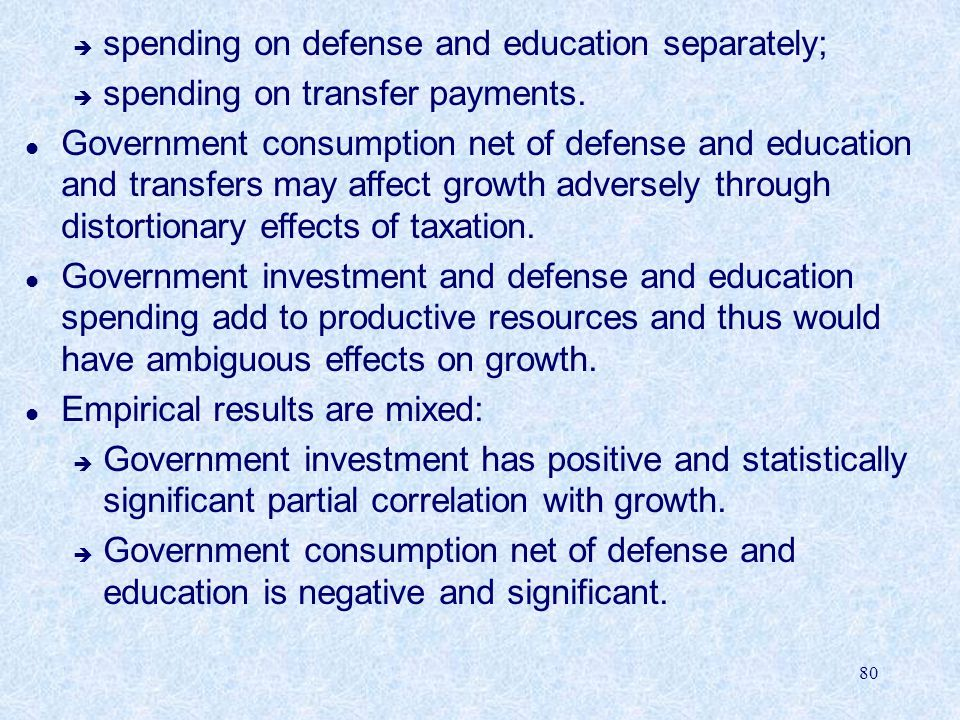spending on defense and education separately;