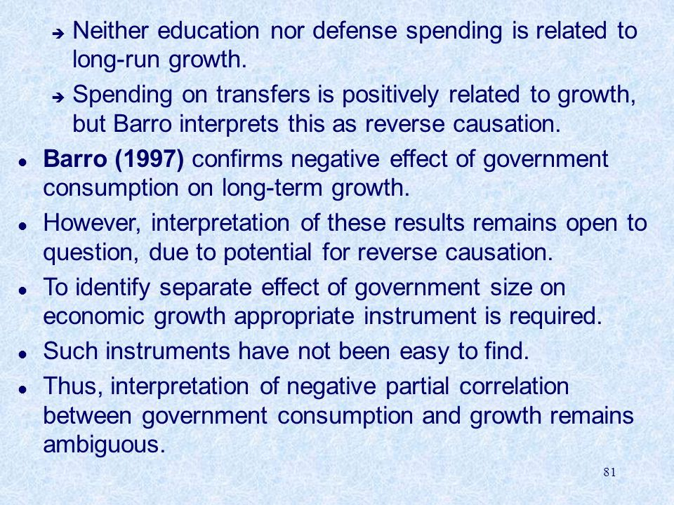 Neither education nor defense spending is related to long-run growth.