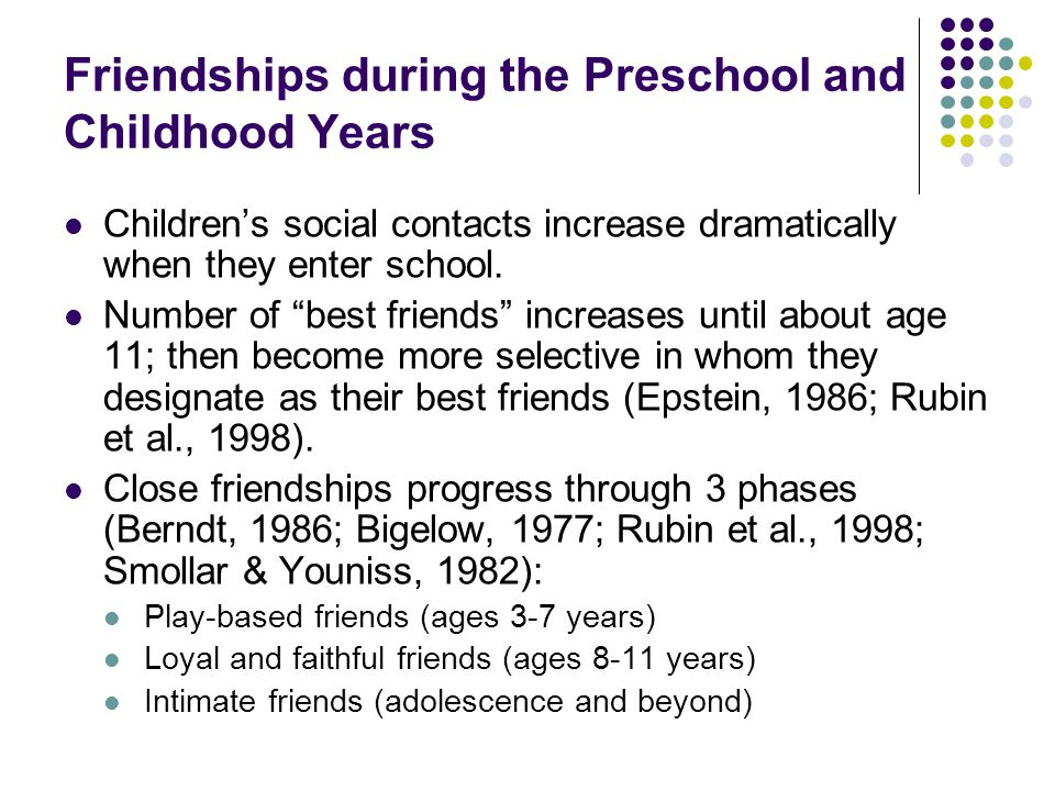 Friendships during the Preschool and Childhood Years
