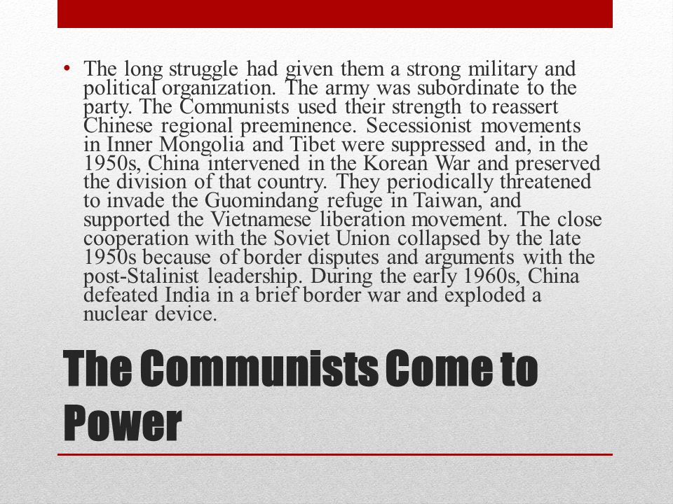 The Communists Come to Power