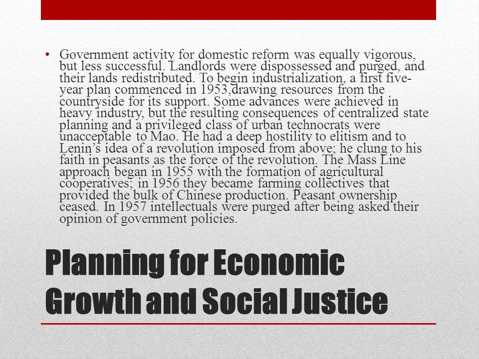 Planning for Economic Growth and Social Justice