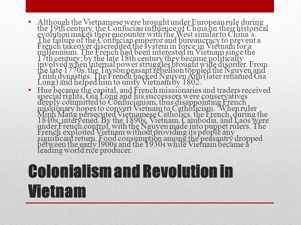 Colonialism and Revolution in Vietnam