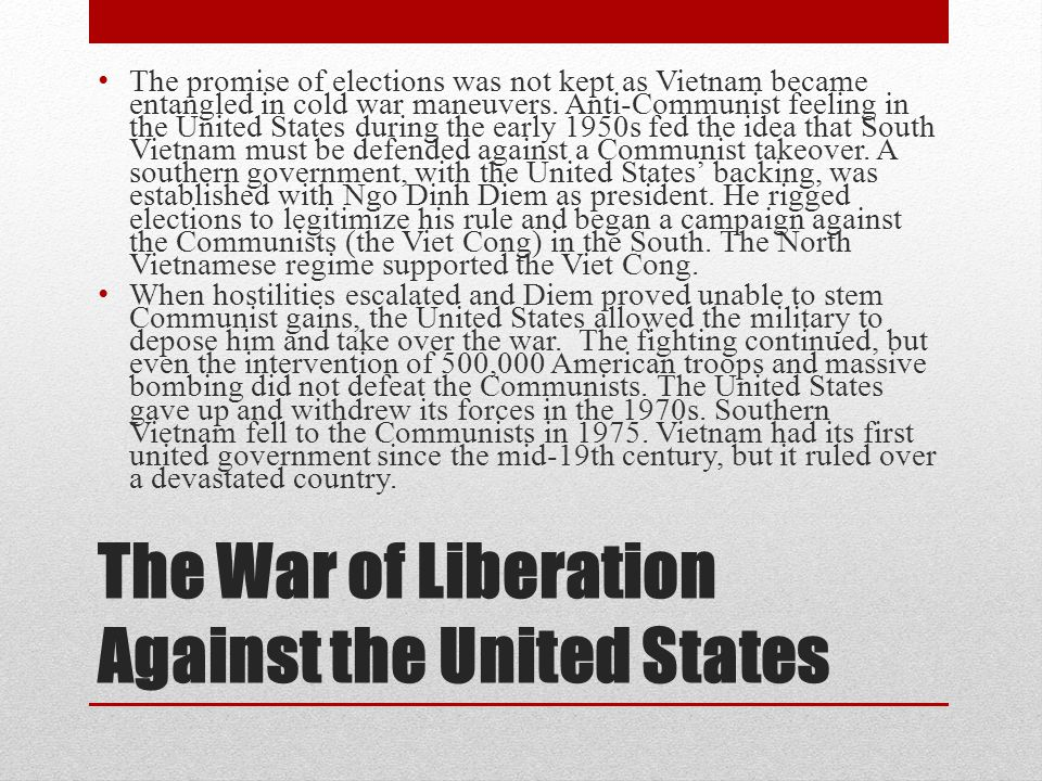 the war efforts of united states with the south vietnamese In the 1968 election, republican richard nixon claimed to have a plan to end the war in vietnam, but, in fact, it took him five years to disengage the united states from vietnam.