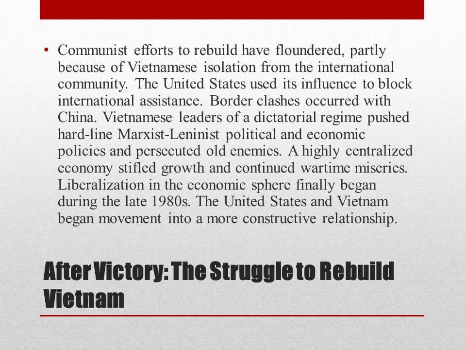 After Victory: The Struggle to Rebuild Vietnam