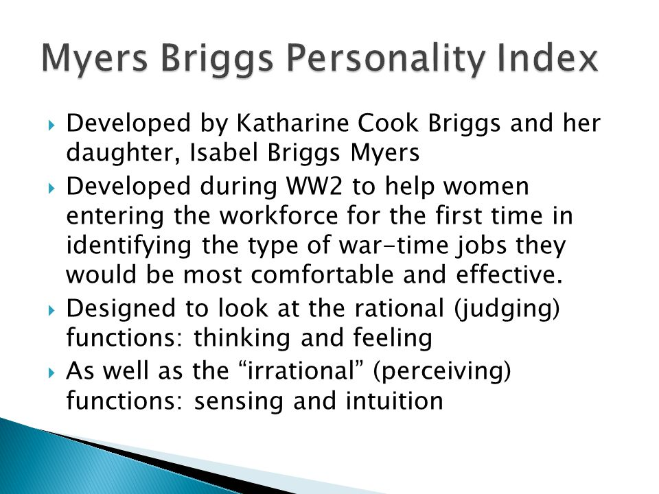Myers Briggs Personality Index
