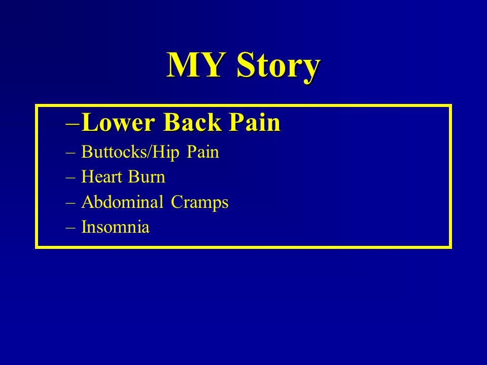 MY Story Lower Back Pain Buttocks/Hip Pain Heart Burn Abdominal Cramps