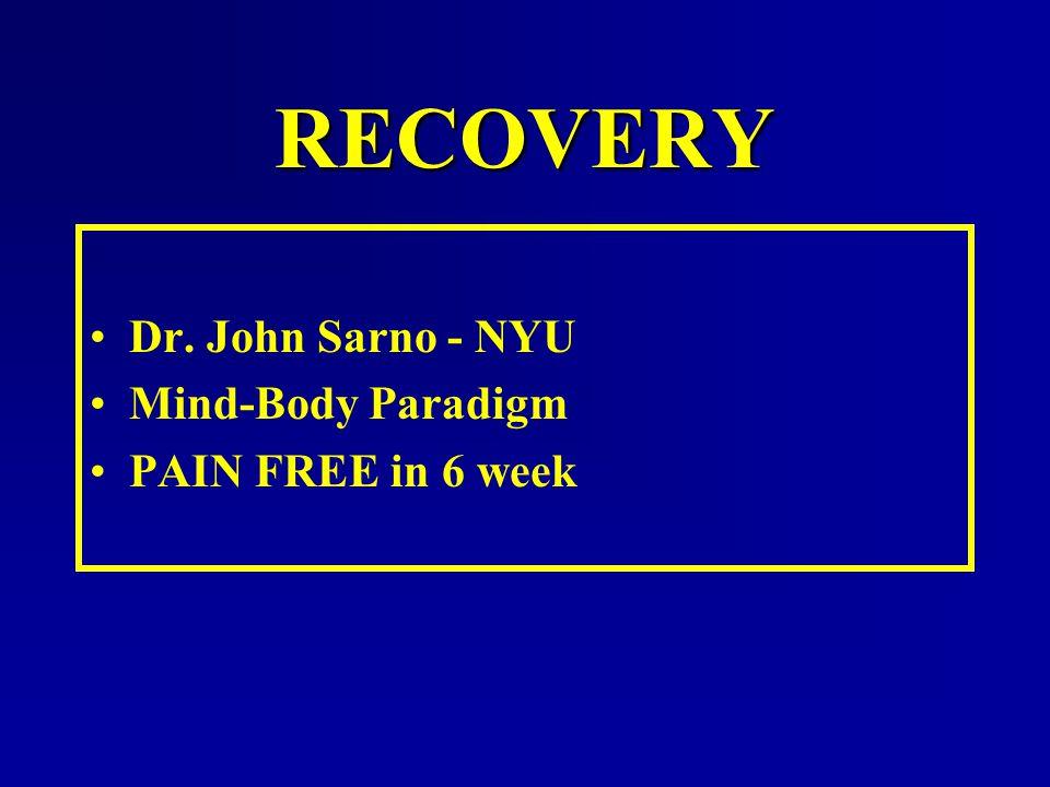 RECOVERY Dr. John Sarno - NYU Mind-Body Paradigm PAIN FREE in 6 week