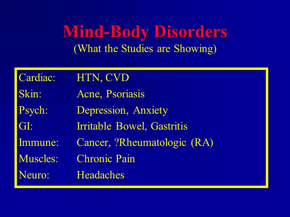 Mind-Body Disorders (What the Studies are Showing)