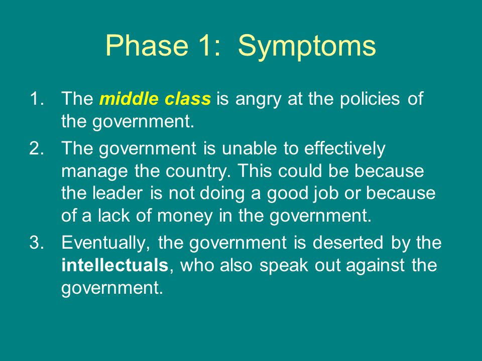 Phase 1: Symptoms The middle class is angry at the policies of the government.
