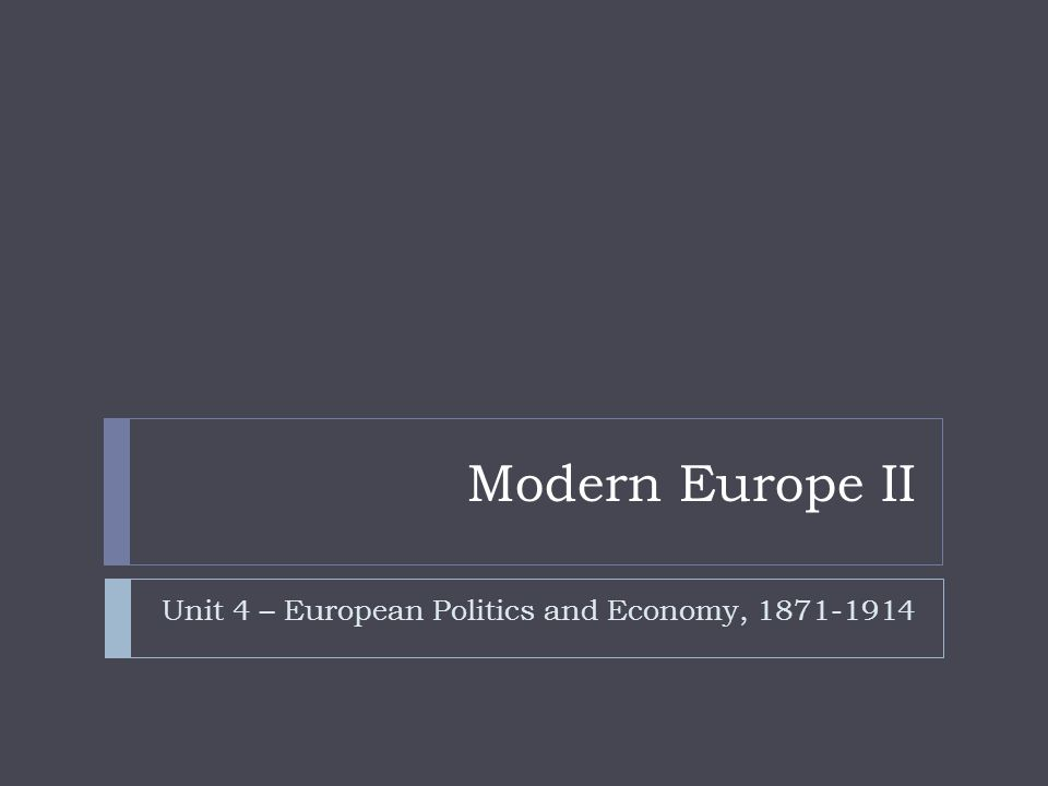 Unit 4 – European Politics and Economy, 1871-1914