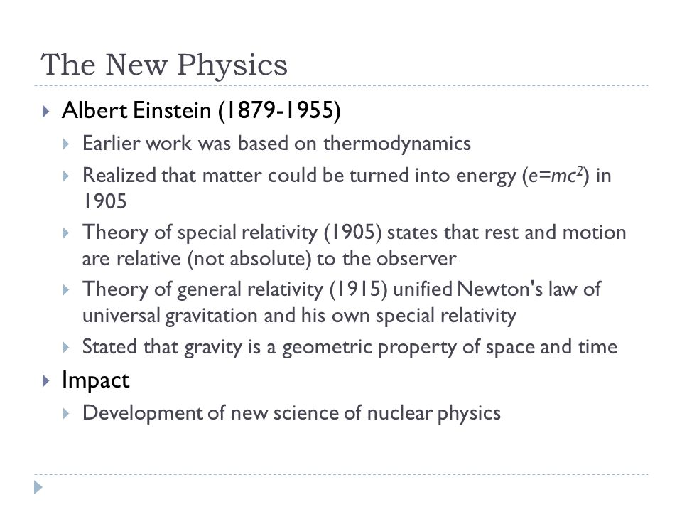 The New Physics Albert Einstein (1879-1955) Impact