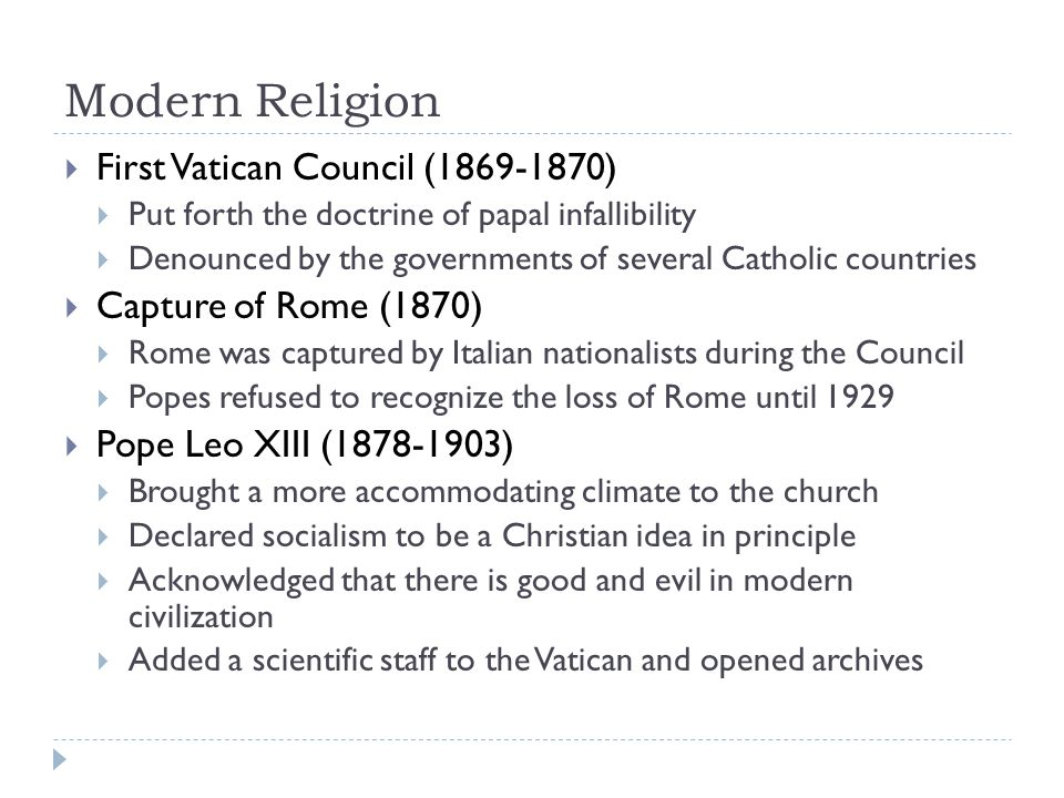 Modern Religion First Vatican Council (1869-1870)