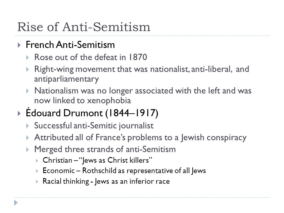 Rise of Anti-Semitism French Anti-Semitism Édouard Drumont (1844–1917)