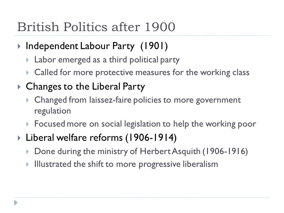 British Politics after 1900