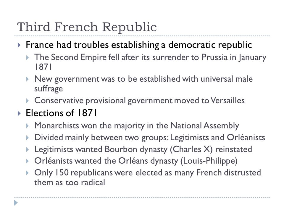Third French Republic France had troubles establishing a democratic republic. The Second Empire fell after its surrender to Prussia in January 1871.