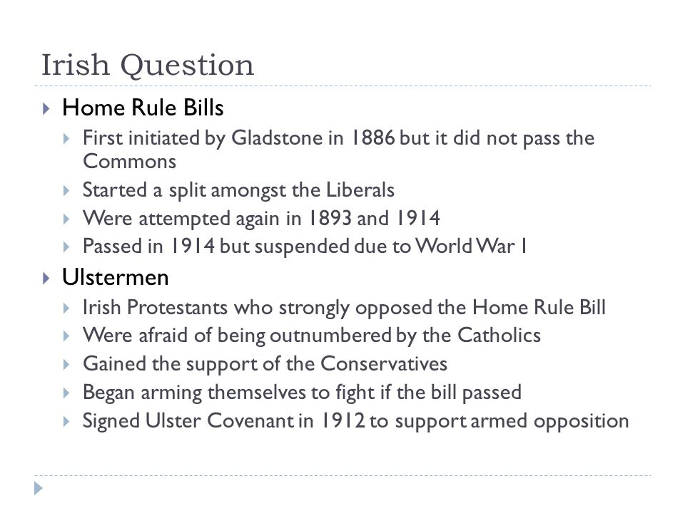 Irish Question Home Rule Bills Ulstermen