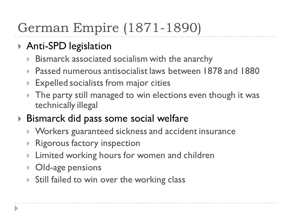German Empire (1871-1890) Anti-SPD legislation