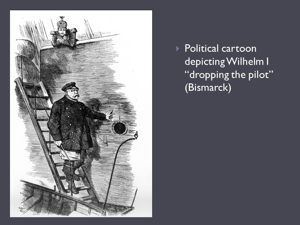 Political cartoon depicting Wilhelm I dropping the pilot (Bismarck)